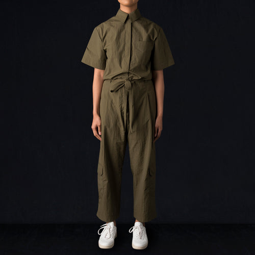 Tissue Nylon Jumpsuit in Olive