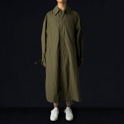 Tissue Nylon Trapeze Coat in Olive