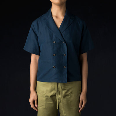 Deveaux - Silk-Linen DB Shirt in Navy