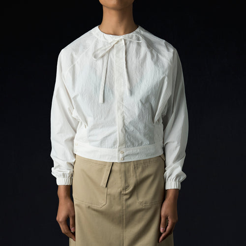 Tissue Nylon Dolman Shirt in White