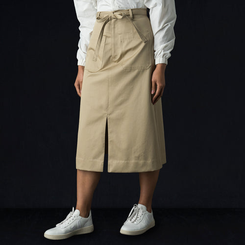 Cotton Twill Cargo Skirt in Beige