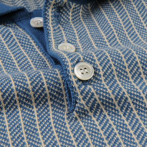 Blakey S/S Polo in Ensign Blue & Biscotti