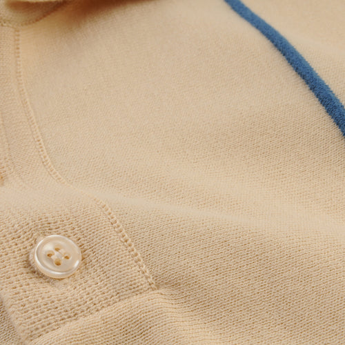 Alfaro S/S Polo in Biscotti & Ensign Blue