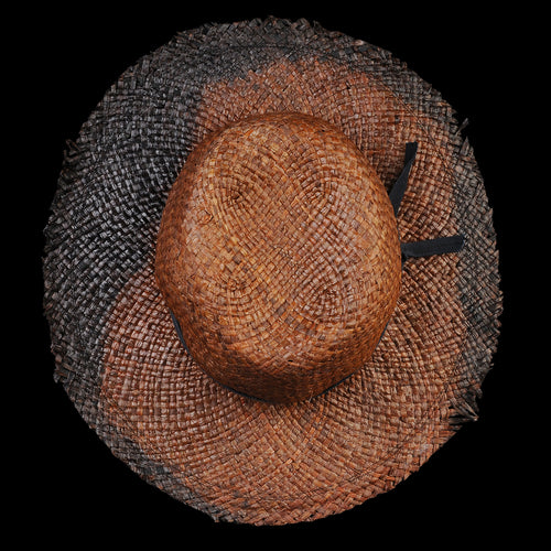 Oaxaca Paper Straw Hat in Black Dip Dyed Rust