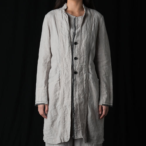 Layered Front Linen Coat in Light Grey