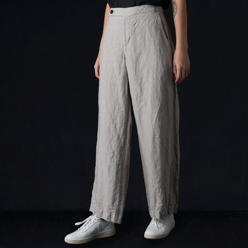Stripe Linen Loose Pant in Light Grey