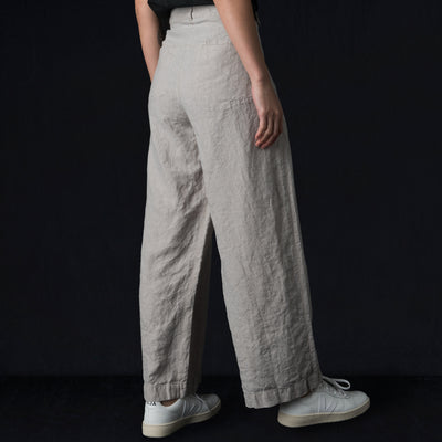 Pas de Calais - Stripe Linen Loose Pant in Light Grey