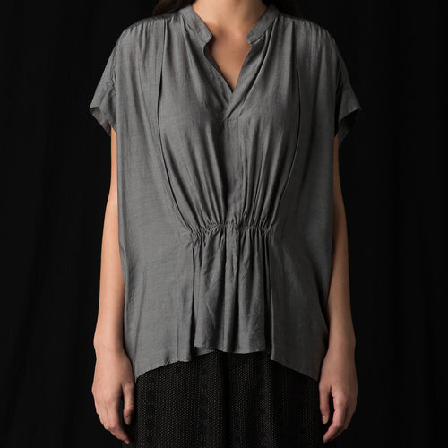 Recycled Cupro Blouse in Charcoal