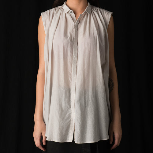 Cotton Silk Voile Blouse in Light Grey