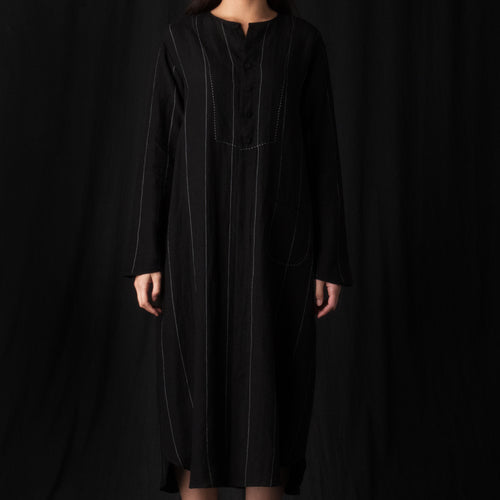 Linen Stripe Shirt Dress in Black