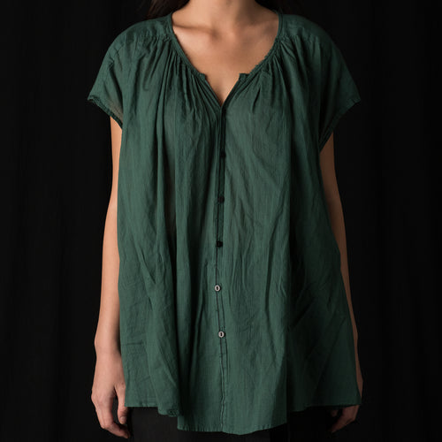 Short Sleeve Khadi Blouse in Green