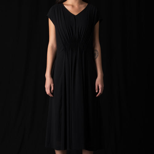 Gathered A-Line Dress in Black
