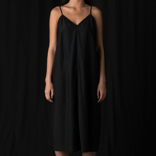 Cotton Silk Petite Dress in Black