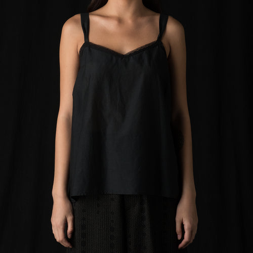Cotton Silk Petite Camisole in Black