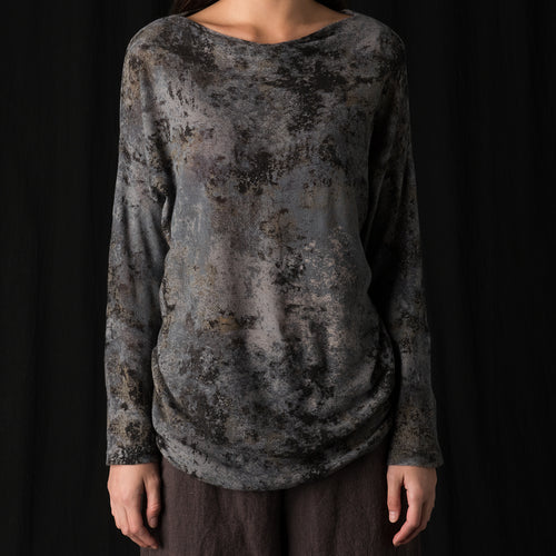 Lichen Print Pullover in Charcoal