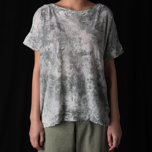 Lichen Print Blouse in Light Grey