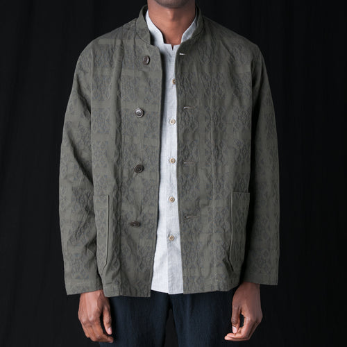 Cotton Jacquard Jacket in Khaki