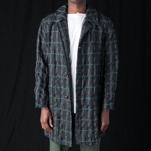 Crinkle Plaid Coat in Green