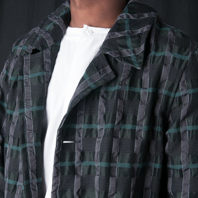 Sage de Crêt - Crinkle Plaid Coat in Green