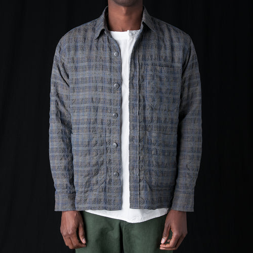 Seersucker Check Shirt Jacket in Grey
