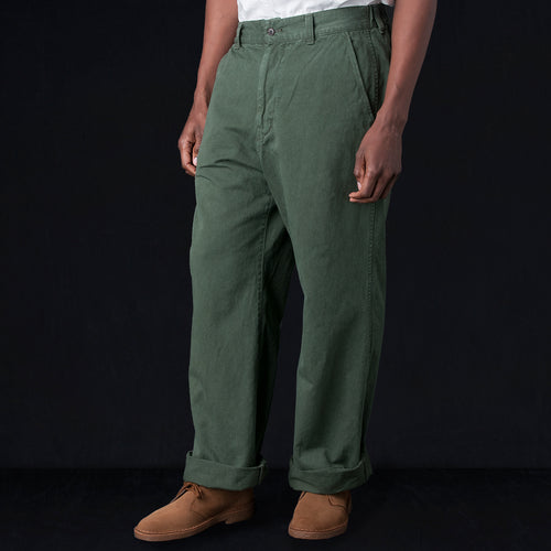 Cotton Hemp Wide Pant in Khaki