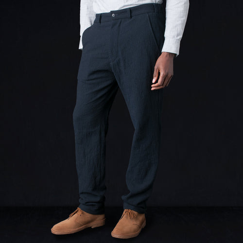 Crosshatch Poly Easy Pant in Navy