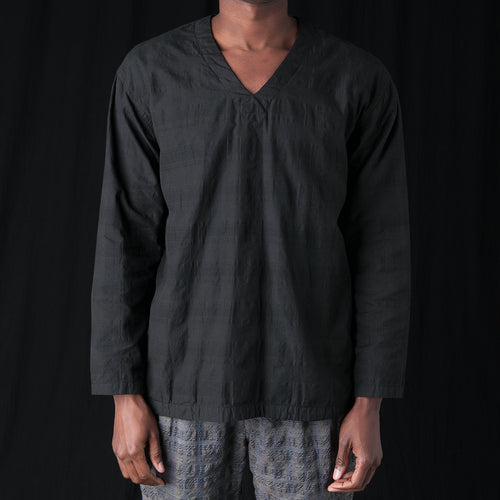 Check Weave Pullover in Black