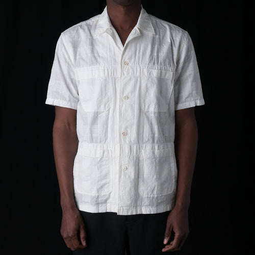 Crinkle Check Camp Shirt in White