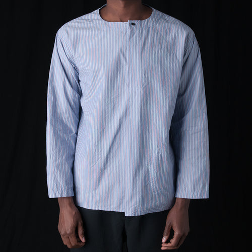 Pin Stripe Pullover Shirt in Navy