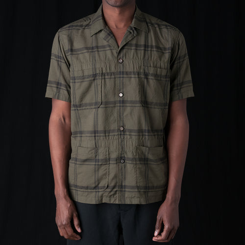 Plaid Camp Shirt in Khaki