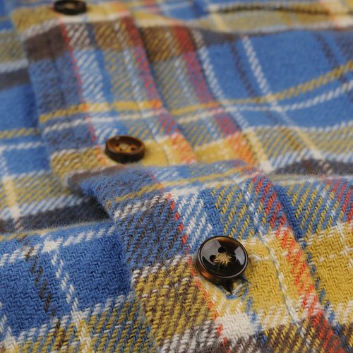 Flannel Button Down Shirt in Blue & Yellow