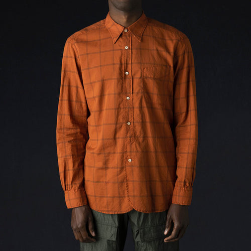 Regular B.D. Shirt in Orange & Charcoal Check
