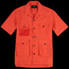 Eastlogue - 4 Pocket Utility Half Shirt in Red Orange