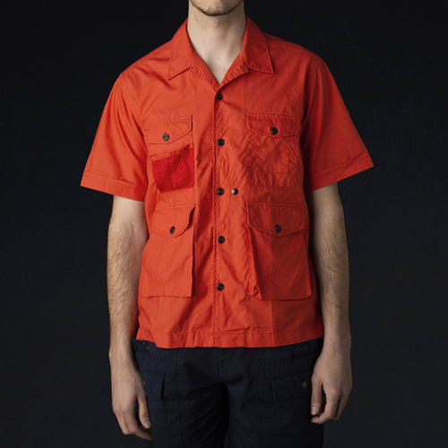 4 Pocket Utility Half Shirt in Red Orange