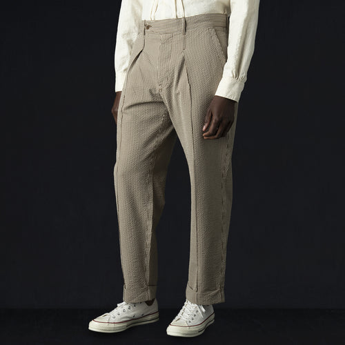 Holiday Pant in Beige Seersucker