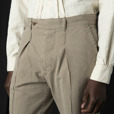 Eastlogue - Holiday Pant in Beige Seersucker