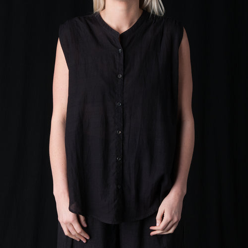 Aileen Sleeveless Shirt in Black