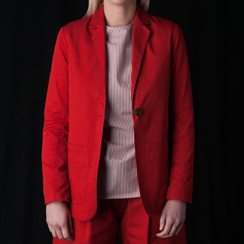 Fine Twill One Button Carry-On Suit Jacket in Paprika
