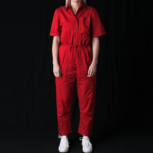 Fine Twill Sack Pocket Shirting Jumpsuit in Paprika