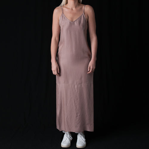 Long Layered Slip Dress in Dusty Rose