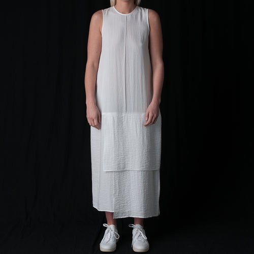 Ripple Noren Panel Column Dress in White