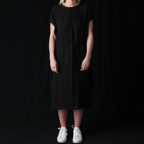 Ripple Tunic Tie Dress in Black