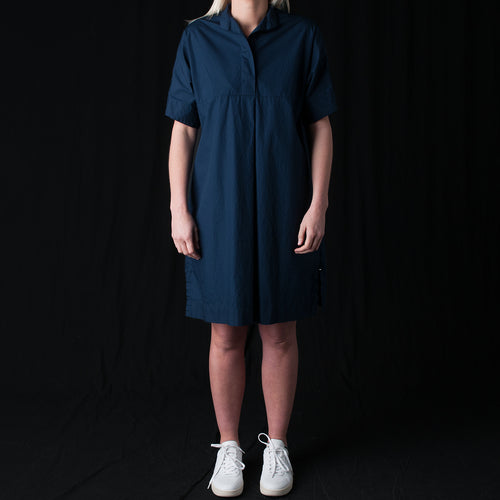 Poplin Banded Collar Tunic Shirt in Midnight Blue