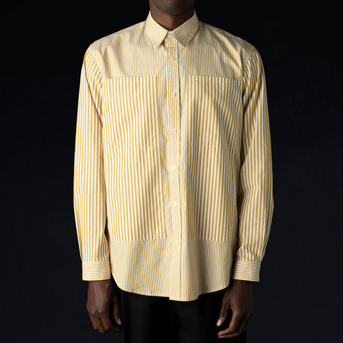 Relaxed 4 Pocket Shirt in Khaki & White Stripe