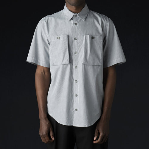 Short Sleeve Sack Pocket Shirt in Midnight Blue & White Stripe
