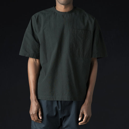Crinkle Oversized Woven Crew in Ink