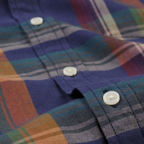 Perfect Madras LS Shirt in Navy