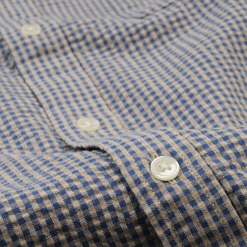 Seersucker Gingham LS Shirt in Blue