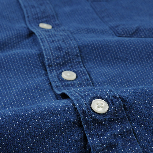 Washed Pin Dot LS Shirt in Indigo
