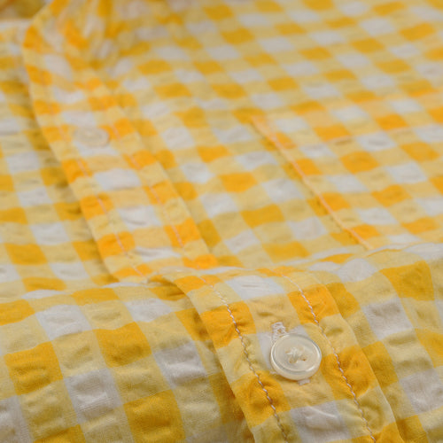 Watercolor Gingham SS Shirt in Yellow